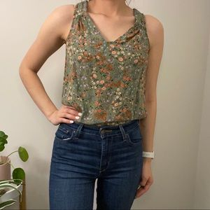 Green floral Old Navy Sleeveless Blouse